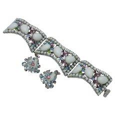 HATTIE CARNEGIE Set Rhinestones, Glass,Cabochon Bracelet & Earrings