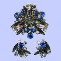 AUSTRIA Brooch Earrings SET Brooch Earrings Shades of Blue