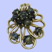 Gorgeous Vintage  CINER Clip Pin Blue Glass Cabochons