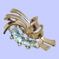 CROWN TRIFARI Sterling Vermeil Brooch Aqua  Pin Pat Pend