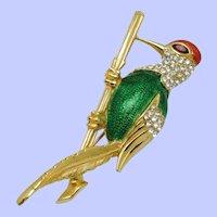 CARVEN PARIS Brooch Rhinestone Enamel Bird on Branch