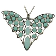 ART DECO  925 Sterling Silver and Turquoise Butterfly Brooch Pin