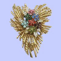 Vintage Rhinestone  Gold Plated Stacked  Floral Brooch Pin