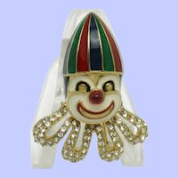 Rare CINER  Enamel Rhinestone Clown Pin Brooch