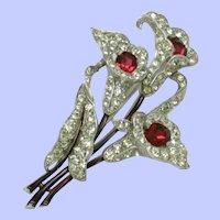 1940 CROWN TRIFARI Sterling Brooch Rhinestone Calla Lily Flower Pin