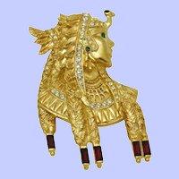 Rare BOB MACKIE Brooch Pin Egyptian Revival Cleopatra