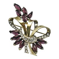MB BOUCHER Sterling and Amethyst Floral Brooch