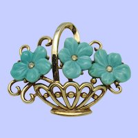 TRIFARI  Philippe Molded Glass Flower Basket Brooch Pin Pat Pend