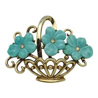 TRIFARI  Philippe Molded Glass Flower Basket Brooch Pin Pat Pend