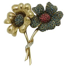 CINER Double Flower Brooch Pin Rhinestone Gold Plated 1950s