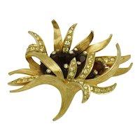 Vintage BOUCHER Brooch Rhinestone  Sea Anemone  Figural Pin