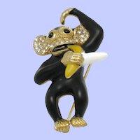 Adorable Vintage CINER  Figural Monkey Brooch Pin