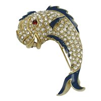 Rare  CINER Brooch Rhinestone Enamel Dolphin Fish Figural Pin