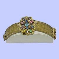 Vintage CZECH Bracelet - Multi Strand Rhinestone Gold Plated