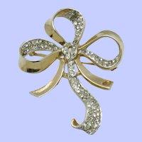 Gorgeous TRIFARI Sterling Brooch Pave Rhinestone Floral Ribbon Bow Pin