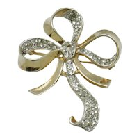 Gorgeous TRIFARI Sterling Brooch Pave Rhinestone Floral Ribbon Bow Pin