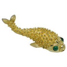 Signed CASTLECLIFF Brooch  Figural Gold Plated Fish Pin