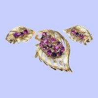 Vintage Rhinestone Brooch Earring Set Rhinestones Gold Plated