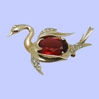 Vintage Red Glass Belly STERLING Swan Brooch Pin