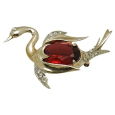 Vintage Red Glass Belly STERLING Swan Brooch Pin