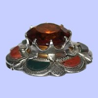 Antique Victorian Agate Brooch Pin Made in Britain Engraved Silver