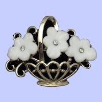 TRIFARI Pin White Molded Glass Flower Basket Pat Pend Brooch