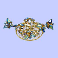 VOGUE Brooch and Earrings Set Stacked Blue AB Rhinestone