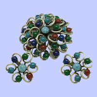 Vintage Stacked Colorful Semi Precious Glass Brooch Earring SET