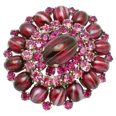 AUSTRIA Stacked Brooch Pin Rasberry Marbled Cabochons & Rhinestones