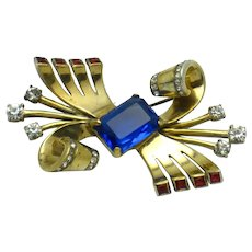 MAZER STERLING Bow Brooch Red White Blue Crystal Circa 1940