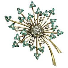 Vintage Rare PENNINO STERLING Pin Aqua Flower Spray Brooch