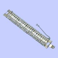Vintage 1950s Wide Rhinestone Bracelet Minty
