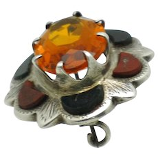 Antique Victorian  Scottish Silver Agate and Citrine Pebble Brooch