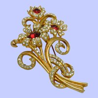 1950s Ruby Red and Pave Crystals Large Flower Bouquet Brooch Pin
