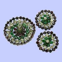 Vintage 1960s Brooch Earrings Set Mexican Sombrero