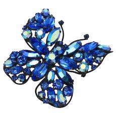 REGENCY Vintage Vibrant Blue Rhinestone Butterfly Brooch Pin