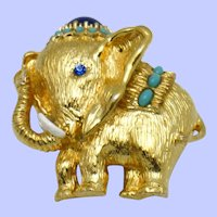 PANETTA Brooch/Pendant Figural Elephant Turquoise Beads Cabochon Crystal Pin