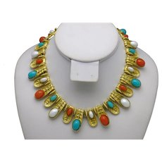 Egyptian Revival Bib Necklace Faux Coral Faux Turquoise Gold Plated