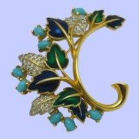 Stunning JOMAZ Metallic Enamel Rhinestone Leaf Pin Brooch