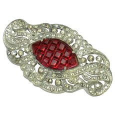 ART DECO Invisibly Set Ruby Red and Clear Rhinestone Brooch or Pin