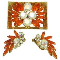 D & E  JULIANA  Brooch and Earrings Set Book Piece