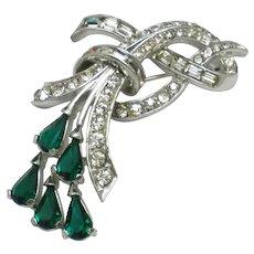BOUCHER 1950s Emerald & Diamante Floral Rhinestone Brooch Pin