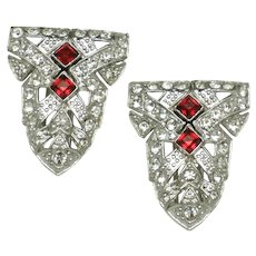 ART DECO Ruby Red & Pave Sparkling Dress Clips