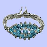 1950s Aqua and Clear Rhinestone STATEMENT Bracelet