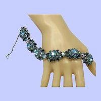 Pristine 1950s CROWN TRIFARI Blue Floral Rhinestone  Bracelet