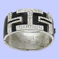 Black Enamel Rhinestone CINER Wide Hinged Cuff Bracelet
