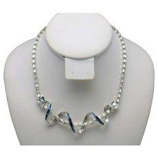 MB BOUCHER Phrygian Cap  Sapphire Rhinestone Baguette Crossover Necklace