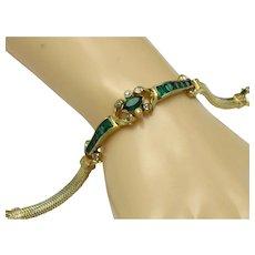 Vintage 1940s igned MAZER Art Deco Style Emerald Green Bracelet