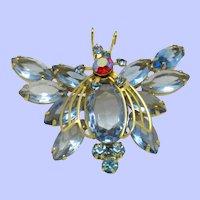 JULIANA  Figural Butterfly Blue Crystals Aurora Borealis