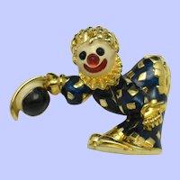 Vintage JOMAZ Figural Clown Enamel Rhinestone Pin Brooch